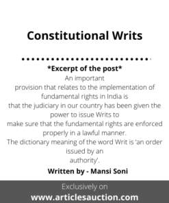 Constitutional Writs - Articles Auction