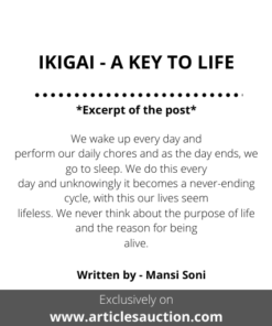 IKIGAI - A KEY TO LIFE - Articles Auction