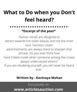 What to Do when you Don't feel heard? - Articles Auction