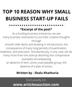 TOP 10 REASON WHY SMALL BUSINESS START-UP FAILS - Articles Auction