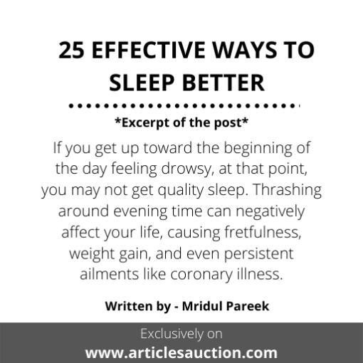 25 EFFECTIVE WAYS TO SLEEP BETTER - Articles Auction