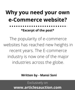 Why you need your own e-Commerce website? - Articles Auction