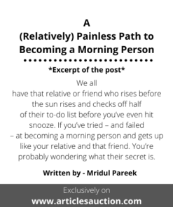 A (Relatively) Painless Path to Becoming a Morning Person - Articles Auction