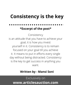 Consistency is the key - Articles Auction