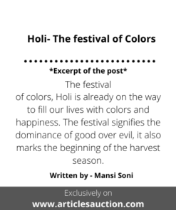 Holi- The festival of Colors - Articles Auction