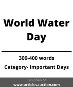 World Water Day - Articles Auction