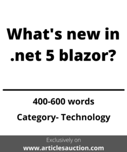 What's new in .net 5 blazor ? - Articles Auction