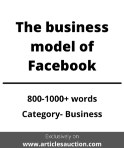 The business model of Facebook - Articles Auction